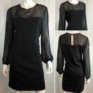 Tahari Sheer Illusion Chiffon Sheath Dress